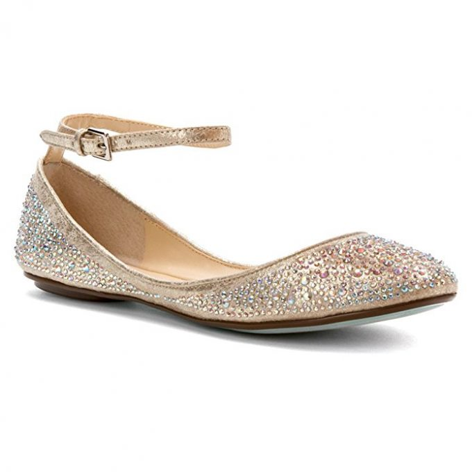 Champagne Bridal Flats with Ankle Strap | 21 Wedding Flats That Will Look Beautiful for the Bride - https://emmalinebride.com/bride/wedding-flats-bride/
