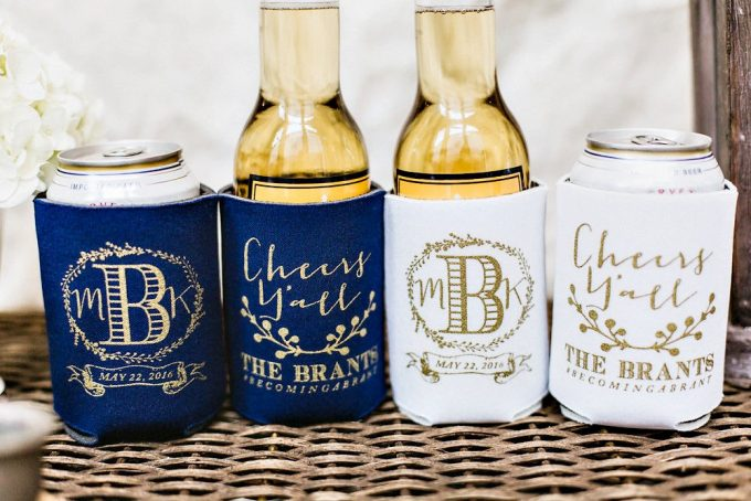 Bride and Groom Drink Koozies Weddings | By Sip Hip Hooray | http://emmalinebride.com/favors/drink-koozies-weddings/