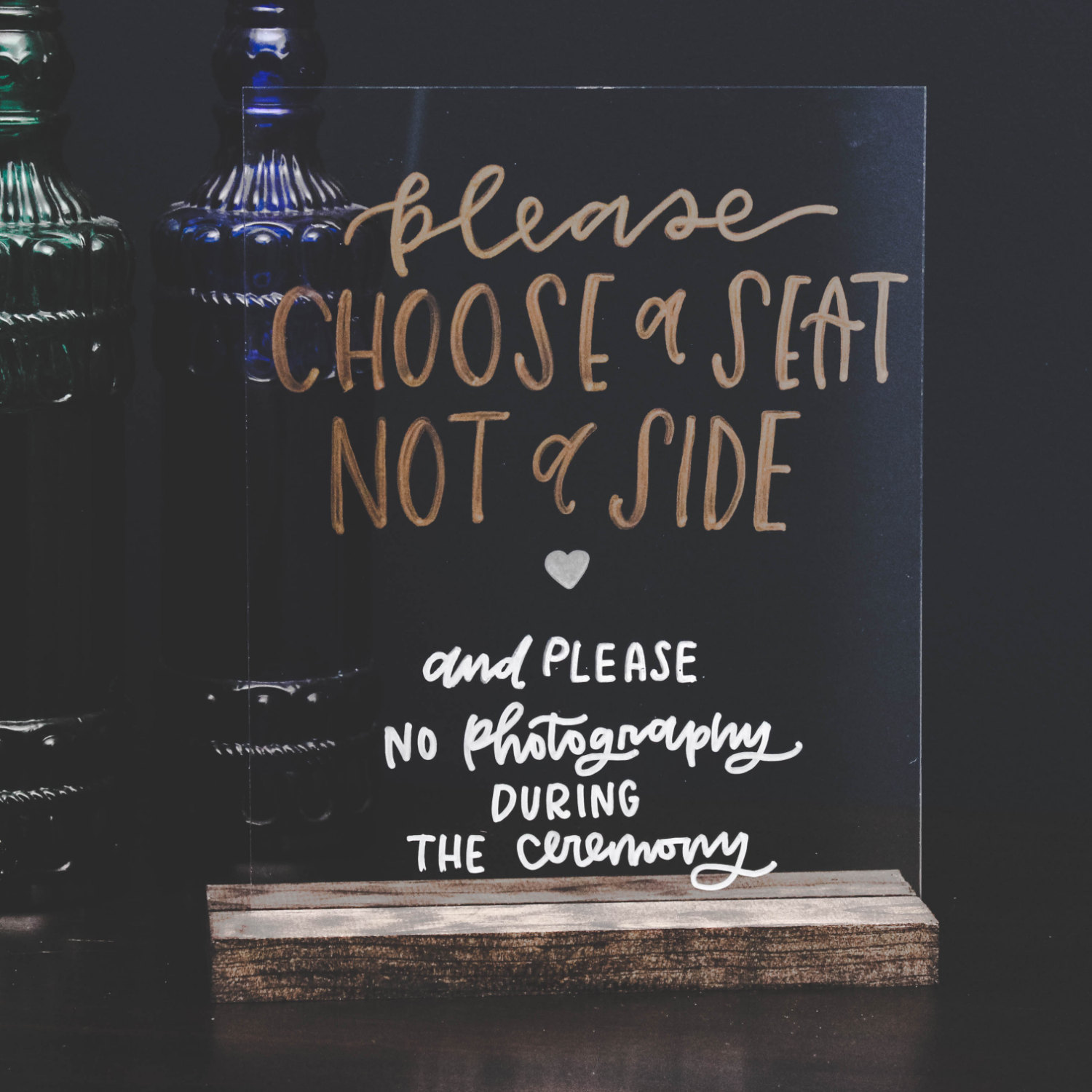 Acrylic signs for weddings are a fun new trend we love! This hand-lettering is beautiful. By Wanderlove Press Co. via http://emmalinebride.com/decor/acrylic-signs-for-weddings/