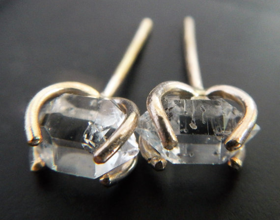 Herkimer diamond earrings your bridesmaids will love! By Gaia's Candy. via Emmaline Bride. http://emmalinebride.com/gifts/bridesmaids-herkimer-diamond-earrings/