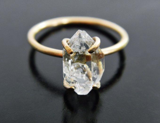 Etsy herkimer diamond engagement ring by Gaia's Candy | https://emmalinebride.com/jewelry/etsy-herkimer-diamond-engagement-ring