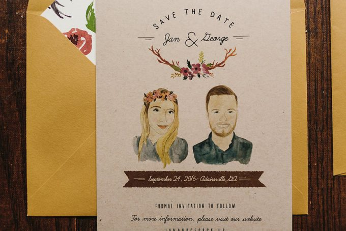 Illustrated Save the Date by Wide Eyes Paper Co.