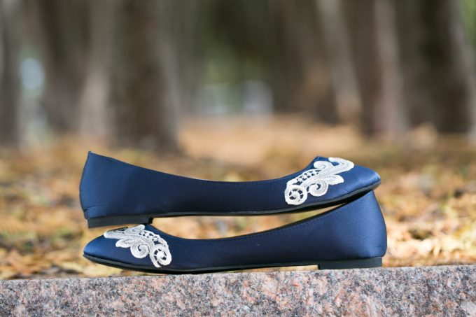 Navy Blue Shoes with Lace by Walkin On Air | 21 Wedding Flats That Will Look Beautiful for the Bride - https://emmalinebride.com/bride/wedding-flats-bride/