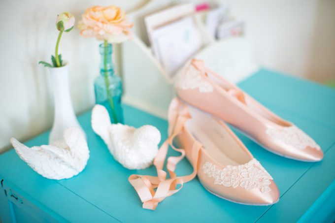 Pink Ballet Bridal Flats by Becca and Louise | 21 Wedding Flats That Will Look Beautiful for the Bride - https://emmalinebride.com/bride/wedding-flats-bride/