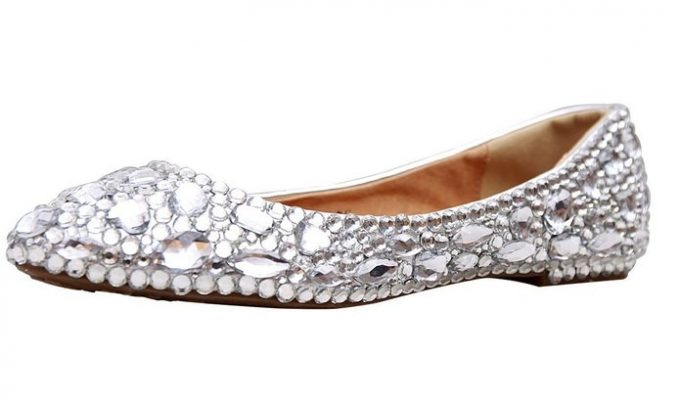Rhinestone Covered Bridal Flats | 21 Wedding Flats That Will Look Beautiful for the Bride - https://emmalinebride.com/bride/wedding-flats-bride/