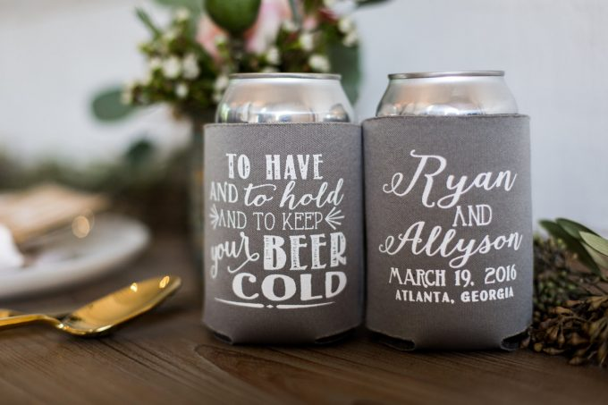 Drink Koozies Weddings, Bachelorette Parties & Bridal Showers | By Sip Hip Hooray | http://emmalinebride.com/favors/drink-koozies-weddings/