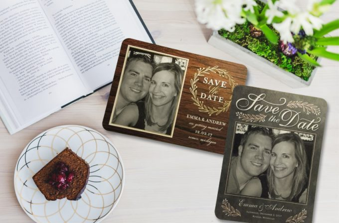 Shutterfly Save the Date Cards | http://emmalinebride.com/planning/shutterfly-save-the-date-cards