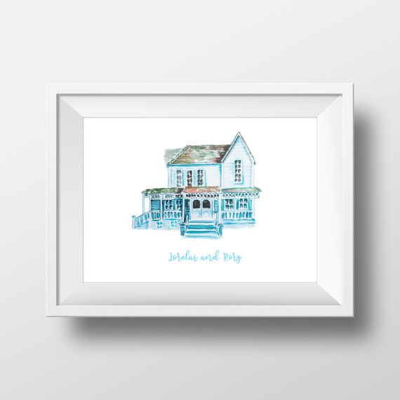 lorelai-and-rorys-house-watercolor-by-watercolorwall