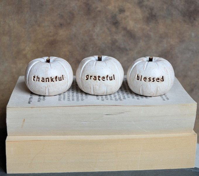 Thankful Grateful Blessed pumpkin decor by Skye Art