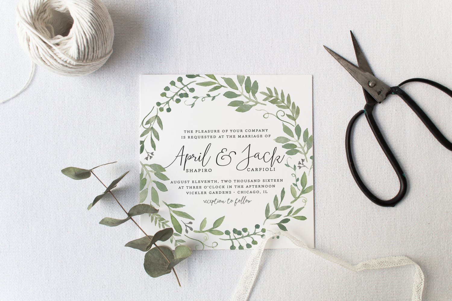 Garden themed printable wedding invitation by Splash of Silver
