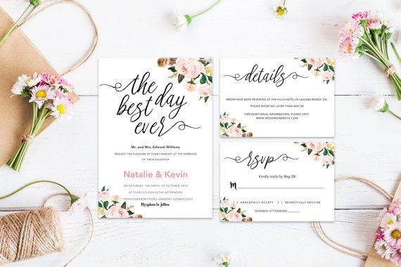best day ever wedding invitations by veilpaperie