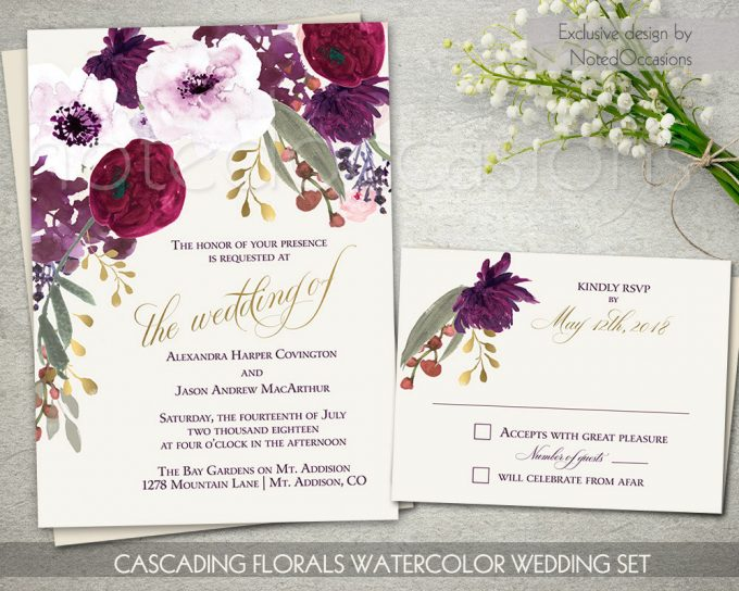 boho chic floral invites via free wedding invitations giveaway | http://emmalinebride.com/2017-giveaway/giveaway-win-free-wedding-invitations/