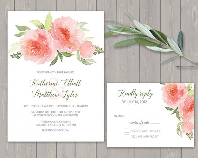 coral floral via free wedding invitations giveaway | http://emmalinebride.com/2017-giveaway/giveaway-win-free-wedding-invitations/