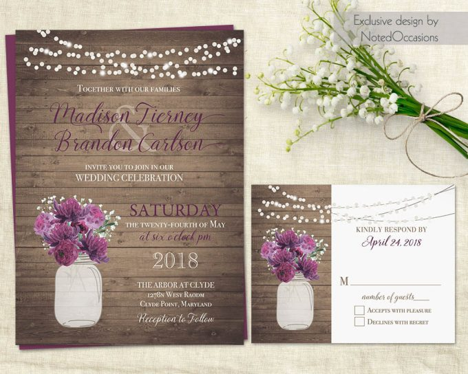 lights and mason jar via free wedding invitations giveaway | http://emmalinebride.com/2017-giveaway/giveaway-win-free-wedding-invitations/