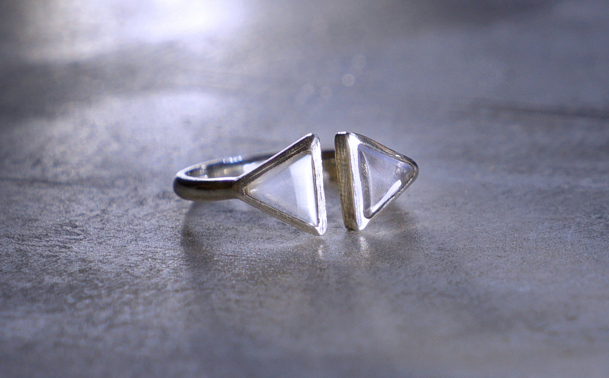 triangle moonstone silver ring | via moonstone stud earrings giveaway