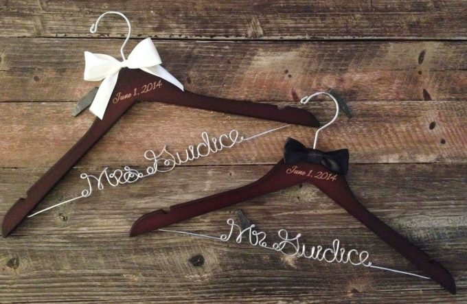 Where to buy personalized dress hangers for weddings | by Get Hung Up | http://etsy.me/2jiYVAS