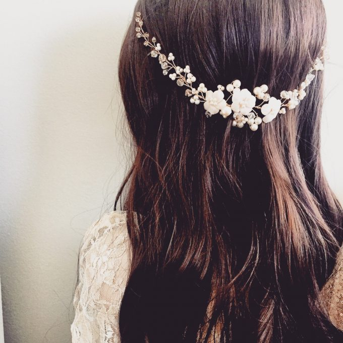 bridal hair vine with pearls by ali christine bridal