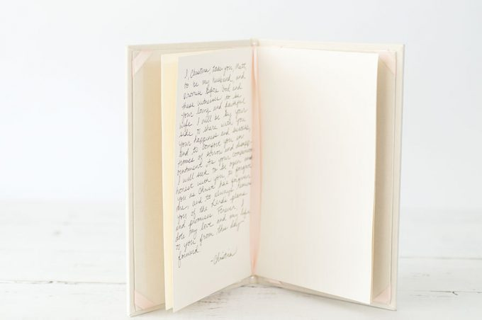 Our Vows | wedding vow book by claire magnolia via emmalinebride.com