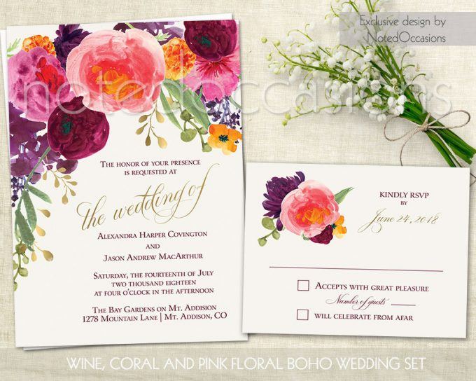 watercolor floral via free wedding invitations giveaway | http://emmalinebride.com/2017-giveaway/giveaway-win-free-wedding-invitations/