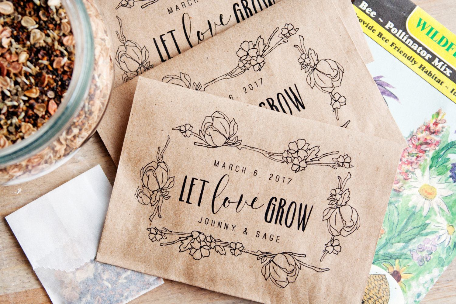 Where to Buy Seed Packet Favors for Weddings | by Mavora | via http://emmalinebride.com/favors/seed-packet-favors-for-weddings/