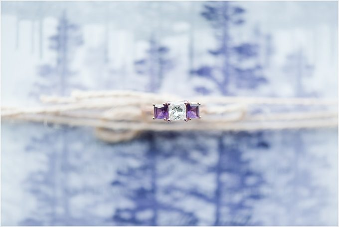 bride's wedding ring with purple stones in this Sedgefield Country Club wedding| Greensboro, North Carolina wedding photographed by Michelle Robinson Photography - http://emmalinebride.com/real-weddings/sedgefield-country-club-wedding/