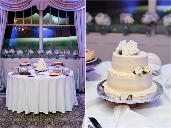 dessert table and wedding cake at this Sedgefield Country Club wedding| Greensboro, North Carolina winter wedding photographed by Michelle Robinson Photography - http://emmalinebride.com/real-weddings/sedgefield-country-club-wedding/