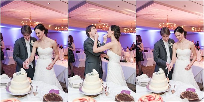 bride and groom cut the wedding cake at this Sedgefield Country Club wedding| Greensboro, North Carolina winter wedding photographed by Michelle Robinson Photography - http://emmalinebride.com/real-weddings/sedgefield-country-club-wedding/
