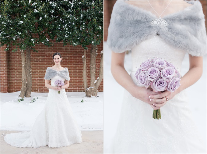 winter wedding with bride and her bouquet in this Sedgefield Country Club wedding| Greensboro, North Carolina wedding photographed by Michelle Robinson Photography - http://emmalinebride.com/real-weddings/sedgefield-country-club-wedding/