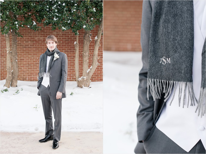 groom with monogram scarf in this Sedgefield Country Club wedding| Greensboro, North Carolina winter wedding photographed by Michelle Robinson Photography - http://emmalinebride.com/real-weddings/sedgefield-country-club-wedding/