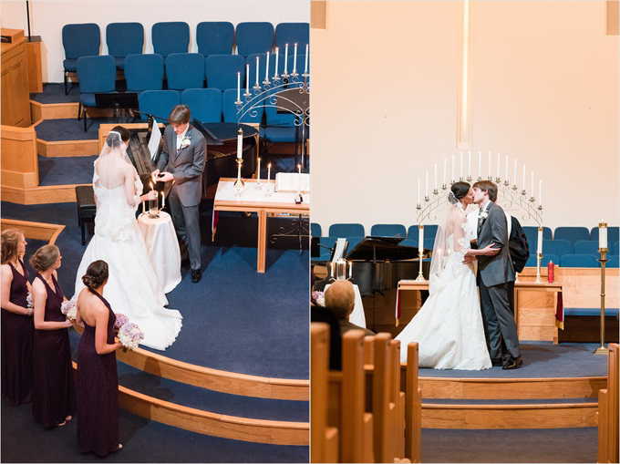 bride and groom kiss in the church at this Sedgefield Country Club wedding| Greensboro, North Carolina winter wedding photographed by Michelle Robinson Photography - http://emmalinebride.com/real-weddings/sedgefield-country-club-wedding/