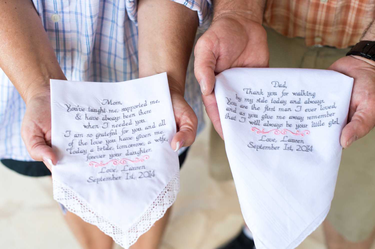 Wedding Gift For Mom And Dad : father & mother of the bride handkerchief set