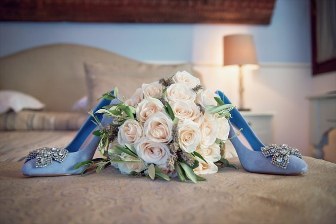 bride's blue wedding heels in destination wedding by Venice, Italy Wedding Planner - Venice Events| An Intimate + Beautiful Venice Wedding at Palazzo Cavalli - http://emmalinebride.com/real-weddings/beautiful-venice-wedding-at-palazzo-cavalli/