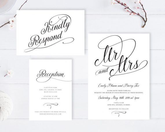 Wedding Invitations With Postcard Response Cards: Cheap Wedding Invitations With RSVP