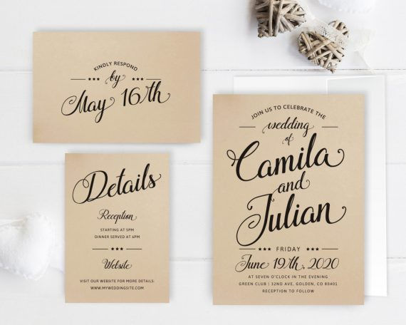 Wedding Invitations With Rsvp Card