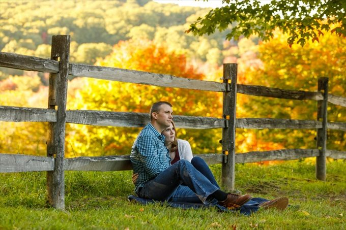 couple during fall engagement session| engagement photography by Butler Photography LLC.| Love Fall Weddings? See this Somers, CT Engagement Session - http://emmalinebride.com/real-weddings/love-the-fall-weddings-see-this-somers-ct-engagement-session/