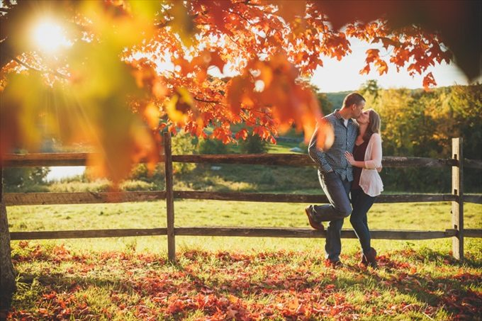 couple kisses in fall engagement session| engagement photography by Butler Photography LLC.| Love Fall Weddings? See this Somers, CT Engagement Session - http://emmalinebride.com/real-weddings/love-the-fall-weddings-see-this-somers-ct-engagement-session/