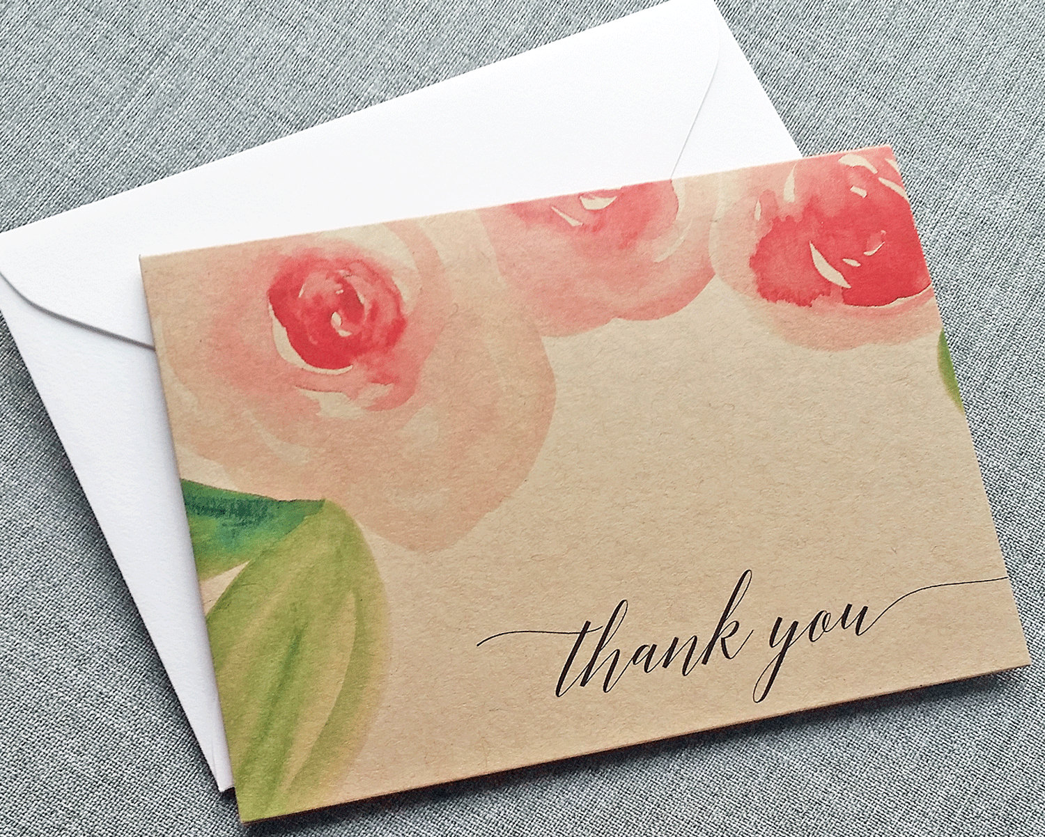 rose watercolor wedding invitations, thank you cards and more