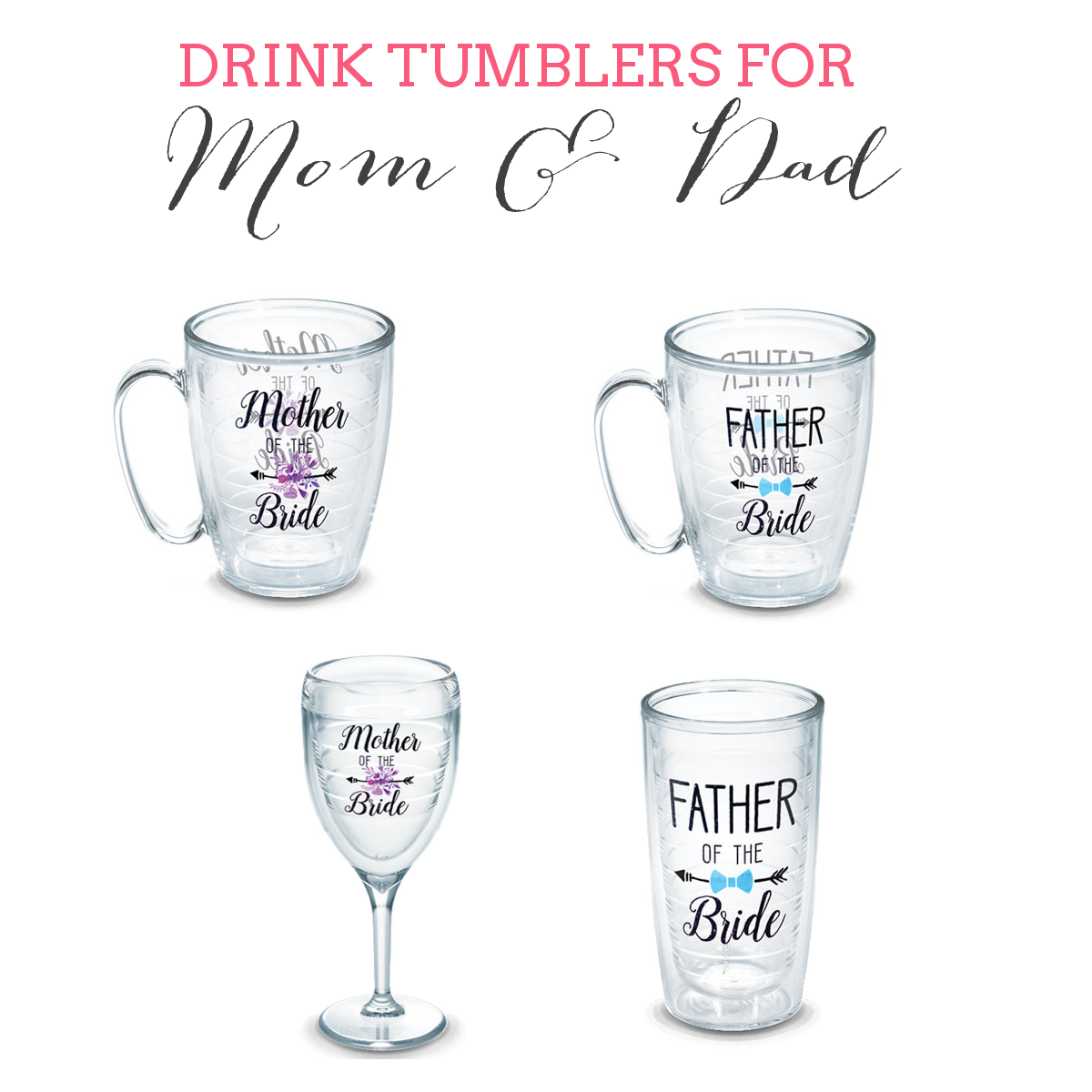 personalized tumblers for bridesmaids, groomsmen, parents