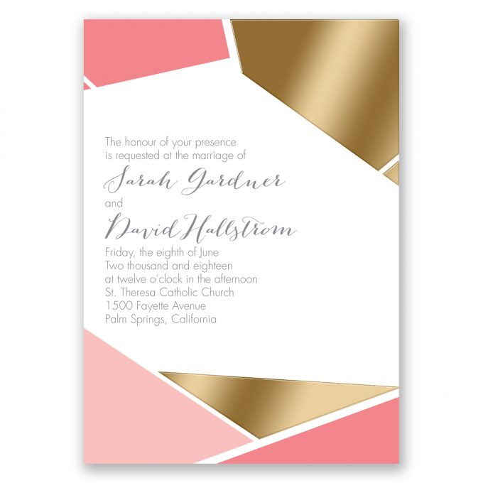 cool geometric pattern and foil - where to buy affordable wedding invitations