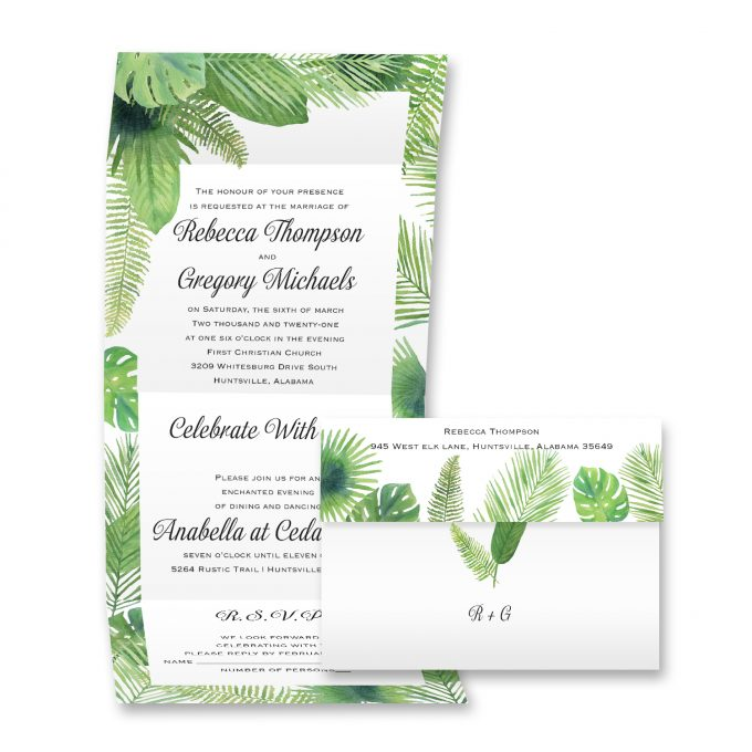 green palm leaves invites - where to buy affordable wedding invitations