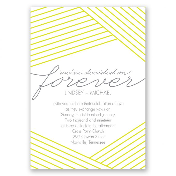 yellow modern stripe, we've decided on forever - where to buy affordable wedding invitations
