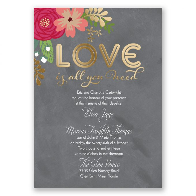 chalkboard love is all you need floral invites - where to buy affordable wedding invitations