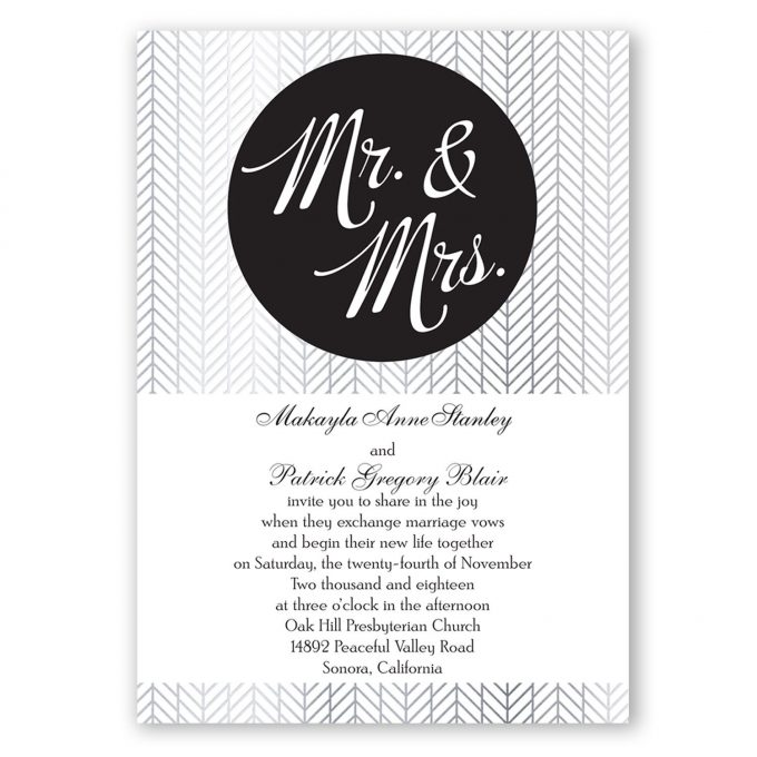 mr and mrs invites black and white with silver - where to buy affordable wedding invitations