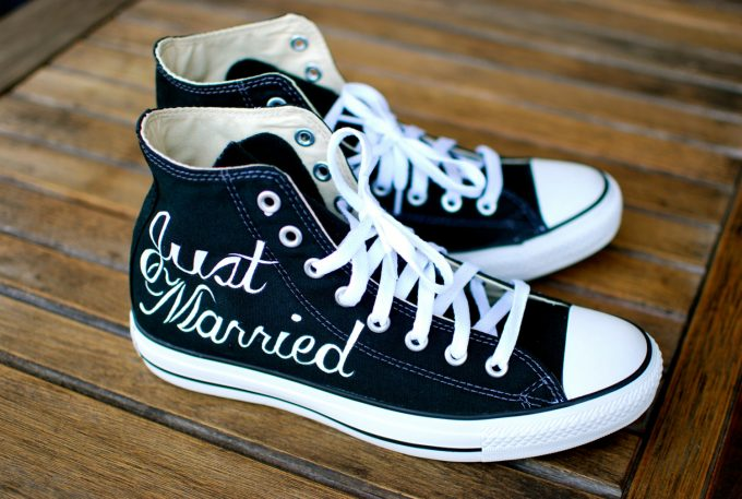 just married chucks - most comfortable wedding shoes