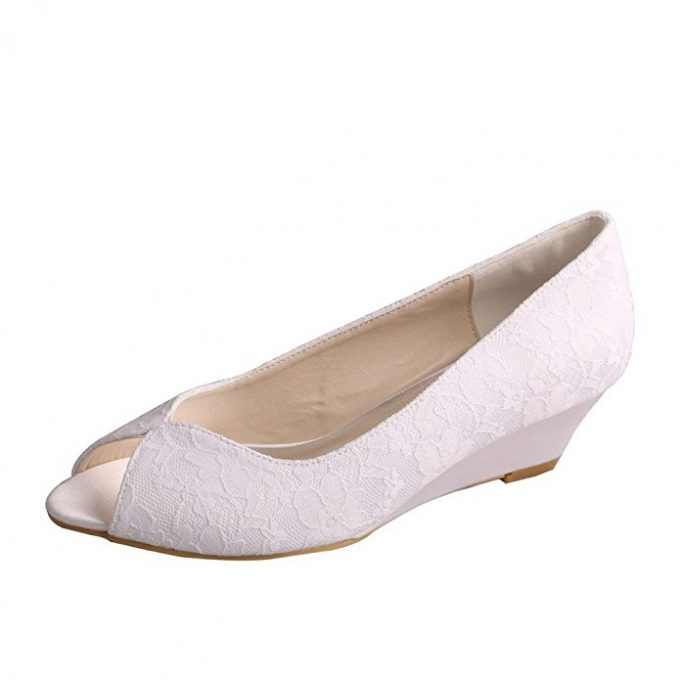 These Wedding Shoes Are Comfy With A P Toe And Lace Covering Plus Small Wedge Heel For Brides Who Want It Get Comfortable Here