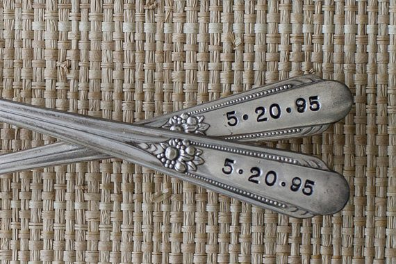 vintage wedding cake forks by woodenhive