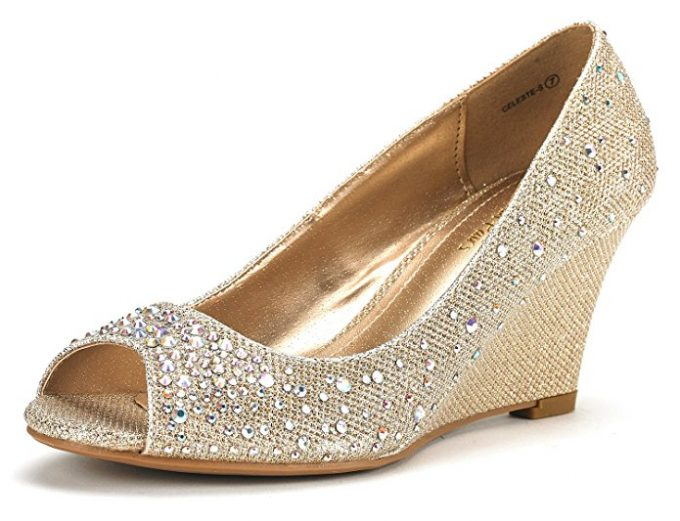 33d34f98838 These affordable gold wedding wedges. So cute and yet