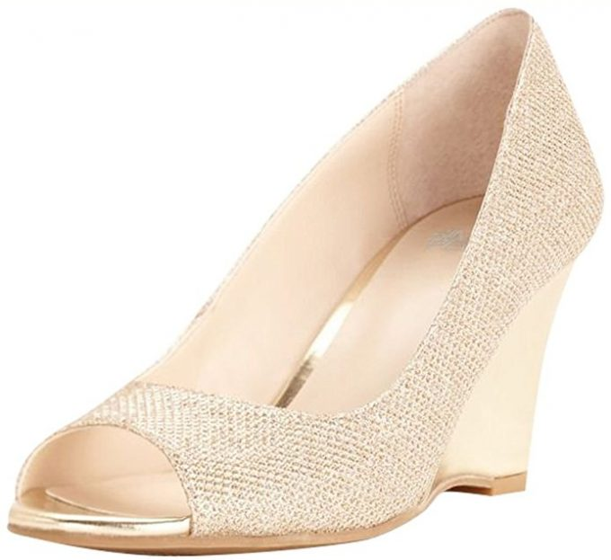 6c8091ca64ec01 by david s bridal. 27. These glittery gold wedges ...