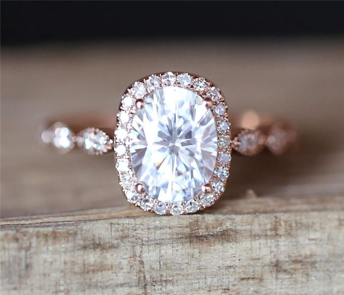 moissanite rose gold engagement rings