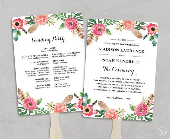 Diy Wedding Program Fans Emmaline Bride Wedding Blog